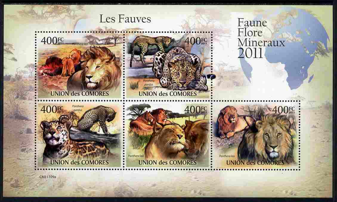 Comoro Islands 2011 Big Cats perf sheetlet containing 5 values unmounted mint