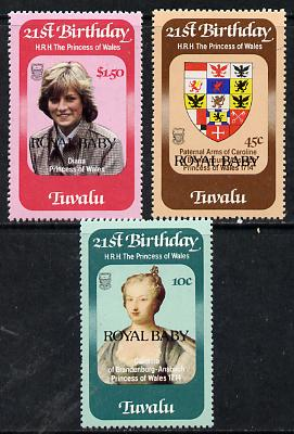 Tuvalu 1982 Princess Di's 21st Birthday set of 3 with Royal Baby opt, SG 189-91  unmounted mint