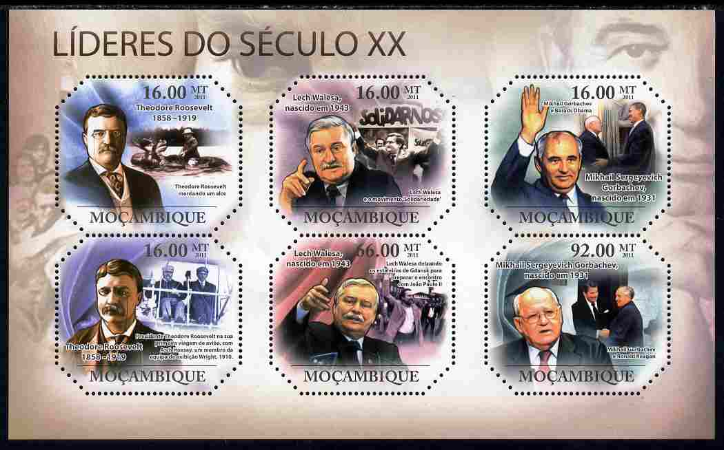 Mozambique 2011 Leaders of the 20th Century #2 perf sheetlet containing 6 values unmounted mint