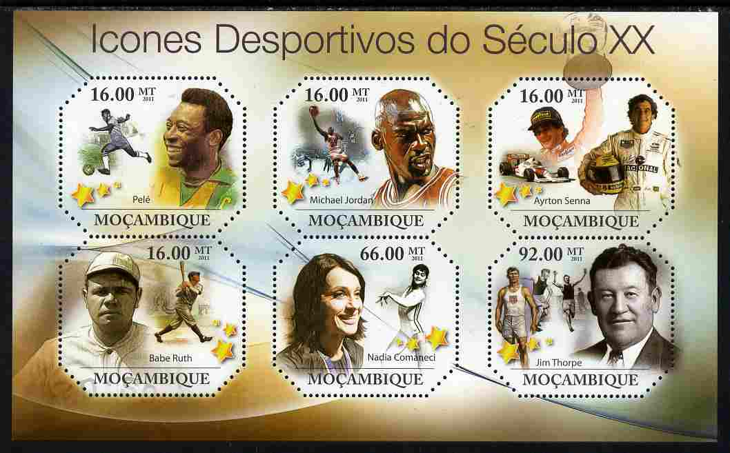 Mozambique 2011 Sporting Icons of the 20th Century perf sheetlet containing 6 values unmounted mint
