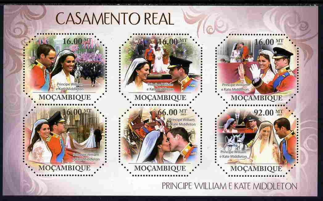 Mozambique 2011 Royal Wedding (William & Kate) perf sheetlet containing 6 values unmounted mint