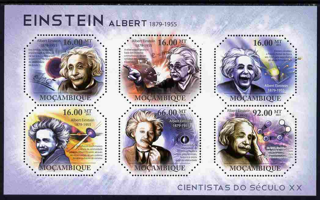 Mozambique 2011 Albert Einstein perf sheetlet containing 6 values unmounted mint