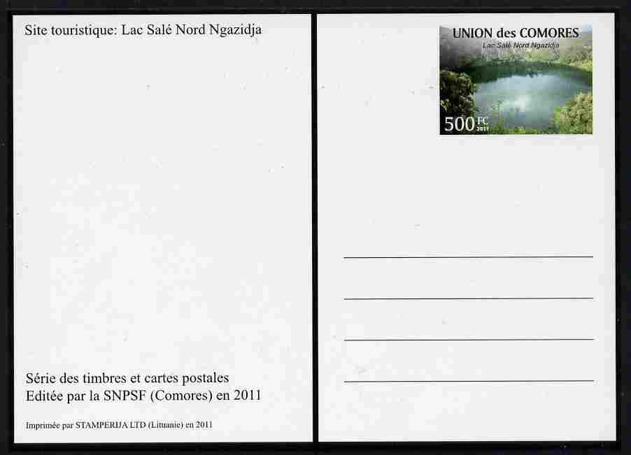 Comoro Islands 2011 Tourism 500f postal stationery card (Lac Sale Nord Ngazidja) unused and pristine