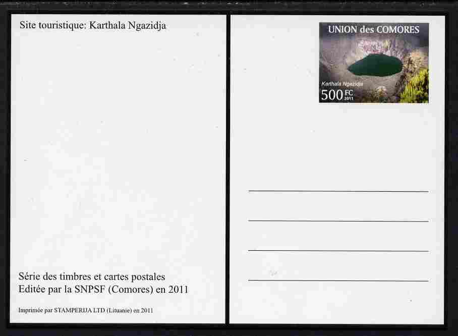 Comoro Islands 2011 Tourism 500f postal stationery card (Karthala Ngazidja) unused and pristine