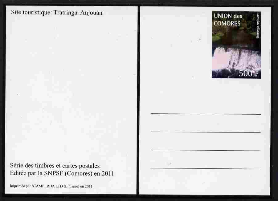 Comoro Islands 2011 Tourism 500f postal stationery card (Tratringa Anjouan) unused and pristine