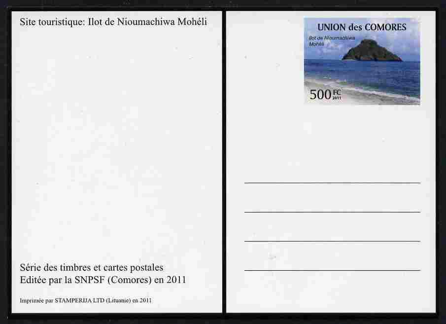 Comoro Islands 2011 Tourism 500f postal stationery card (Ilot de Nimachiwa Moheli) unused and pristine