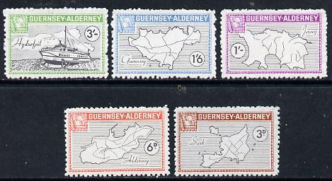 Guernsey - Alderney 1965 Definitives perf set of 5 (4 Maps & Hydrofoil) unmounted mint, Rosen CSA 35-39
