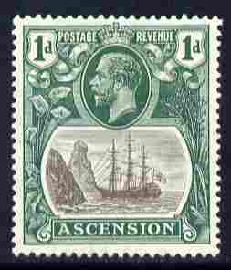 Ascension 1924-33 KG5 Badge 1d grey & bright blue-green single with variety