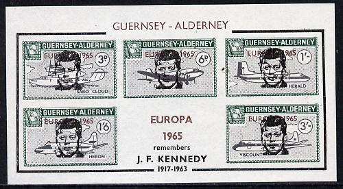Guernsey - Alderney 1965 John F Kennedy overprint on Aircraft imperf m/sheet additionally opt'd Europa in error, unmounted mint