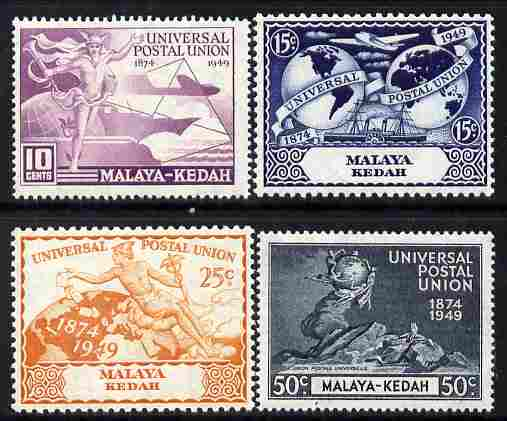 Malaya - Kedah 1949 KG6 75th Anniversary of Universal Postal Union set of 4 mounted mint, SG 72-75