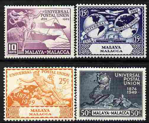 Malaya - Malacca 1949 KG6 75th Anniversary of Universal Postal Union set of 4 mounted mint, SG 18-21