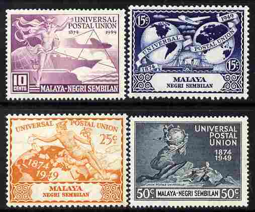 Malaya - Negri Sembilan 1949 KG6 75th Anniversary of Universal Postal Union set of 4 mounted mint, SG 63-66