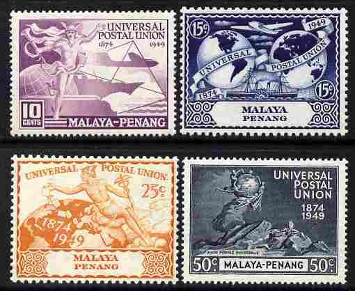 Malaya - Penang 1949 KG6 75th Anniversary of Universal Postal Union set of 4 mounted mint, SG 23-26