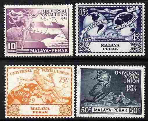 Malaya - Perak 1949 KG6 75th Anniversary of Universal Postal Union set of 4 mounted mint, SG 124-27