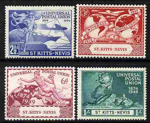 St Kitts-Nevis 1949 KG6 75th Anniversary of Universal Postal Union set of 4 mounted mint, SG 82-85