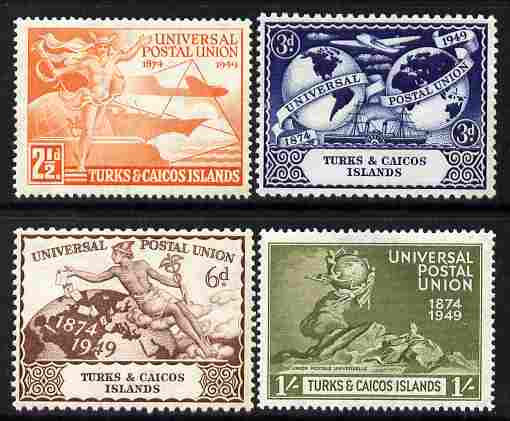 Turks & Caicos Islands 1949 KG6 75th Anniversary of Universal Postal Union set of 4 unmounted mint, SG 217-20
