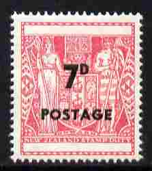 New Zealand 1964 Surcharged 7d on undenominated Fiscal unmounted mint SG 825