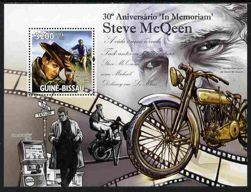 Guinea - Bissau 2011 30th Death Anniversary of Steve McQueen perf s/sheet unmounted mint Michel BL 908