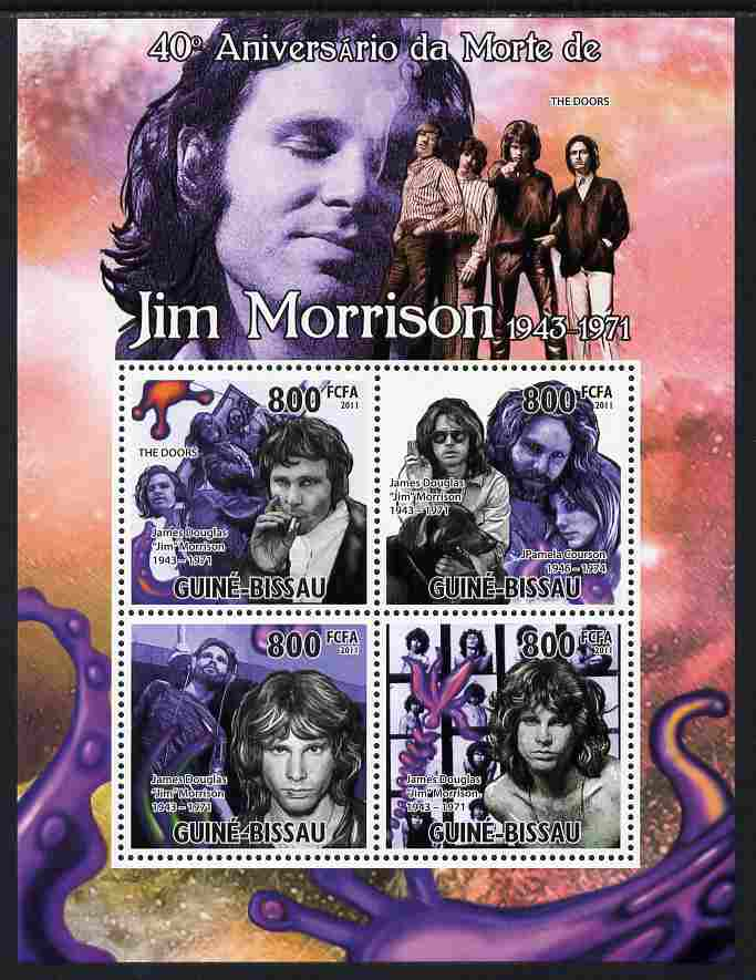 Guinea - Bissau 2011 40th Death Anniversary of Jim Morrison perf sheetlet containing 4 values unmounted mint Michel 5278-81