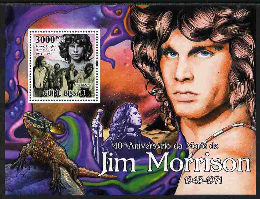 Guinea - Bissau 2011 40th Death Anniversary of Jim Morrison perf s/sheet unmounted mint Michel BL 904