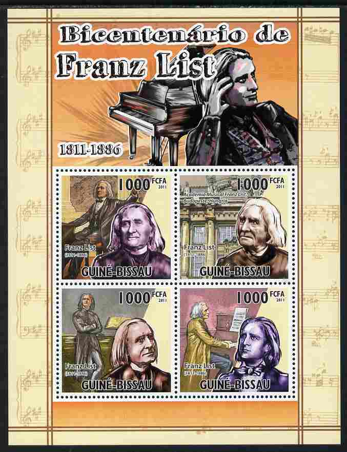 Guinea - Bissau 2011 Bicentenary of Birth of Franz Liszt perf sheetlet containing 4 values unmounted mint Michel 5328-31