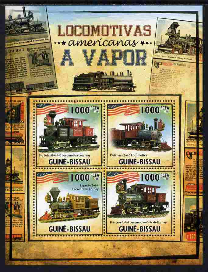 Guinea - Bissau 2011 American Steam Locomotives perf sheetlet containing 4 values unmounted mint Michel 5323-26
