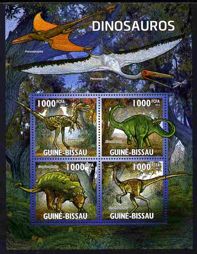Guinea - Bissau 2011 Dinosaurs perf sheetlet containing 4 values unmounted mint Michel 5333-36