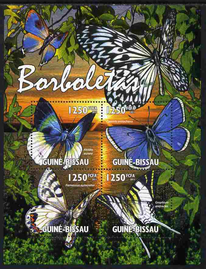 Guinea - Bissau 2011 Butterflies perf sheetlet containing 4 values unmounted mint Michel 5338-41