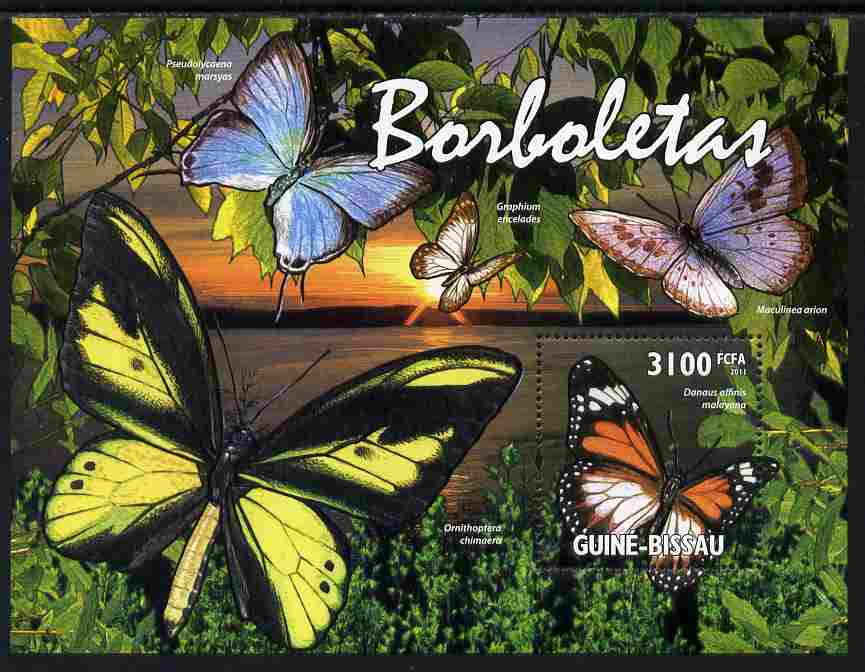 Guinea - Bissau 2011 Butterflies perf s/sheet unmounted mint Michel BL 916, stamps on butterflies