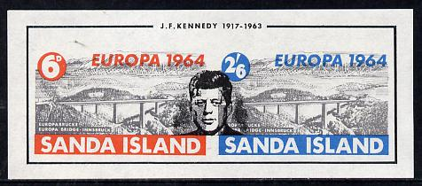 Sanda Island 1964 Europa Bridge imperf m/sheet opt'd for J F Kennedy Memorial, unmounted mint