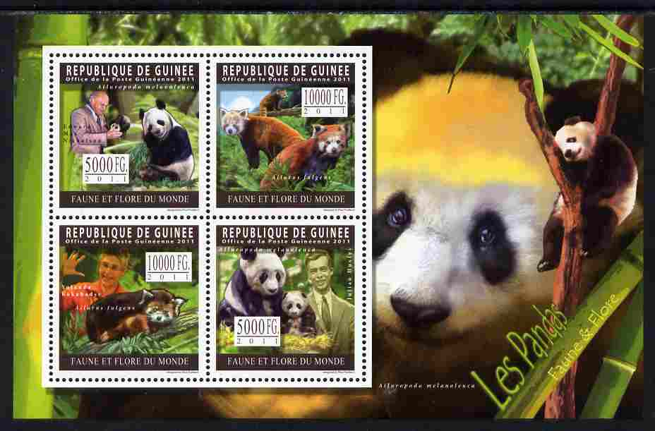 Guinea - Conakry 2011 Pandas perf sheetlet containing 4 values unmounted mint