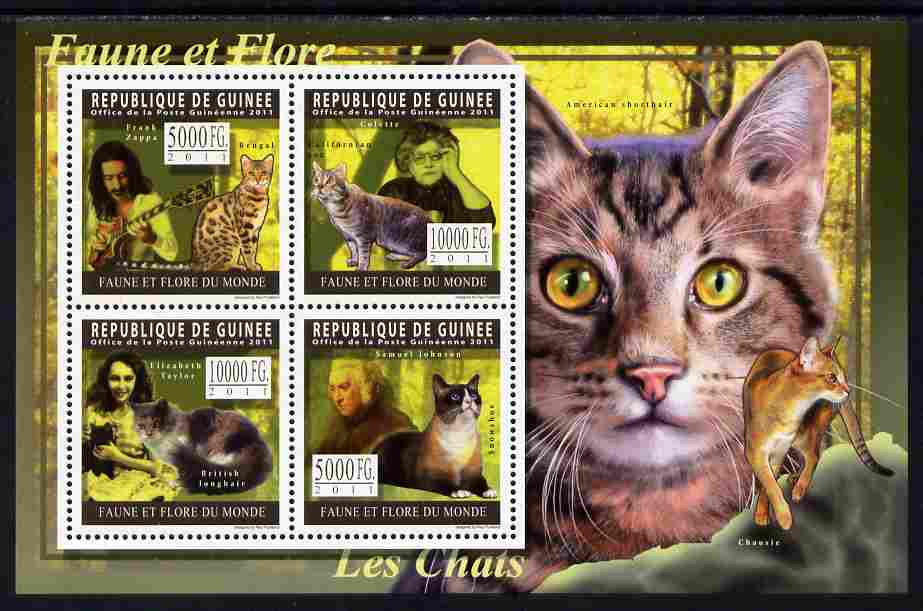 Guinea - Conakry 2011 Domestic Cats perf sheetlet containing 4 values unmounted mint