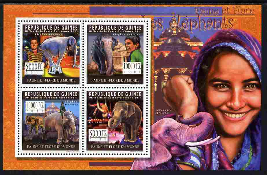 Guinea - Conakry 2011 Elephants perf sheetlet containing 4 values unmounted mint