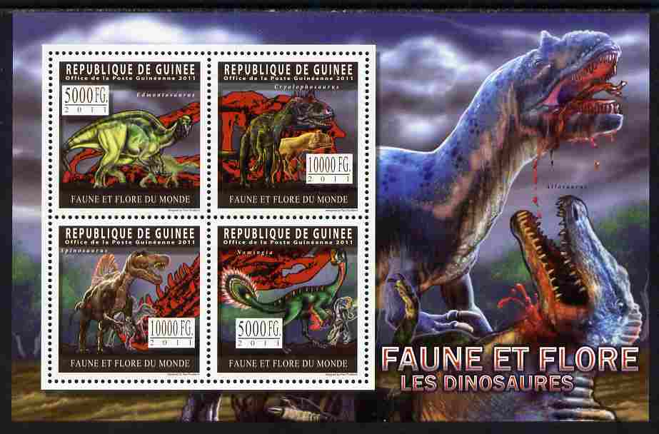 Guinea - Conakry 2011 Dinosaurs perf sheetlet containing 4 values unmounted mint