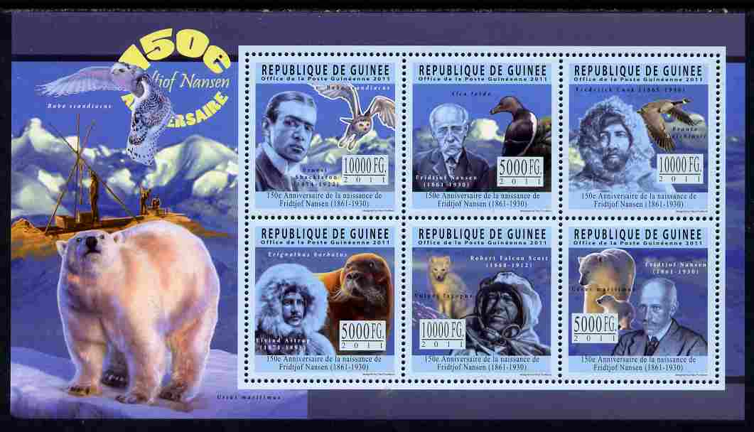 Guinea - Conakry 2011 150th Birth Anniversary of Fridtjof Nansen perf sheetlet containing 6 values unmounted mint
