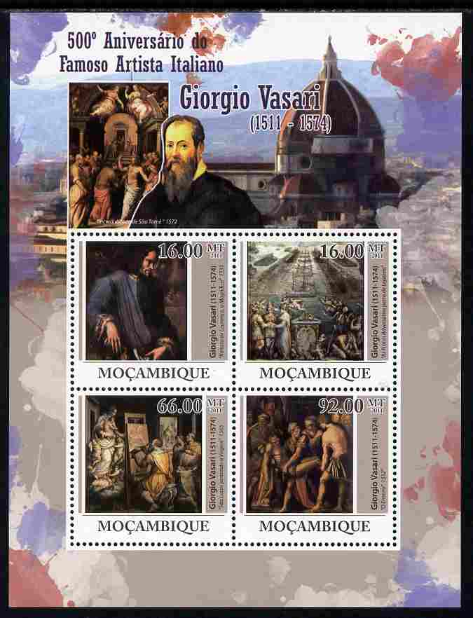 Mozambique 2011 Fifth Birth Centenary of Giorgio Vasari perf sheetlet containing 4 values unmounted mint Michel 4474-77