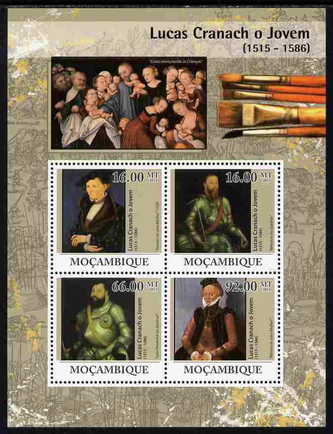 Mozambique 2011 Lucas Cranach the Younger perf sheetlet containing 4 values unmounted mint Michel 4479-82