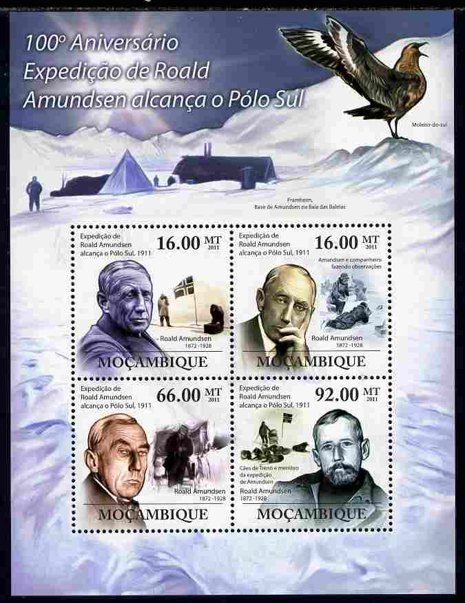 Mozambique 2011 Centenary of Roald Amundsen's Expedition to the South Pole perf sheetlet containing 4 values unmounted mint Michel 4494-97