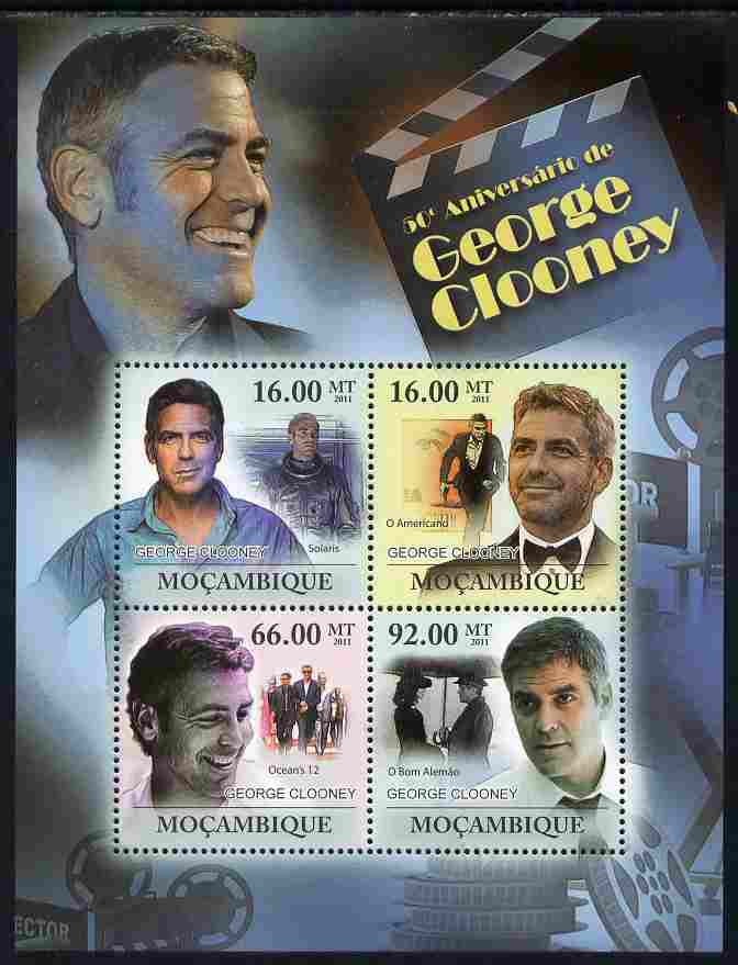 Mozambique 2011 50th Birth Anniversary of George Clooney perf sheetlet containing 4 values unmounted mint Michel 4519-22