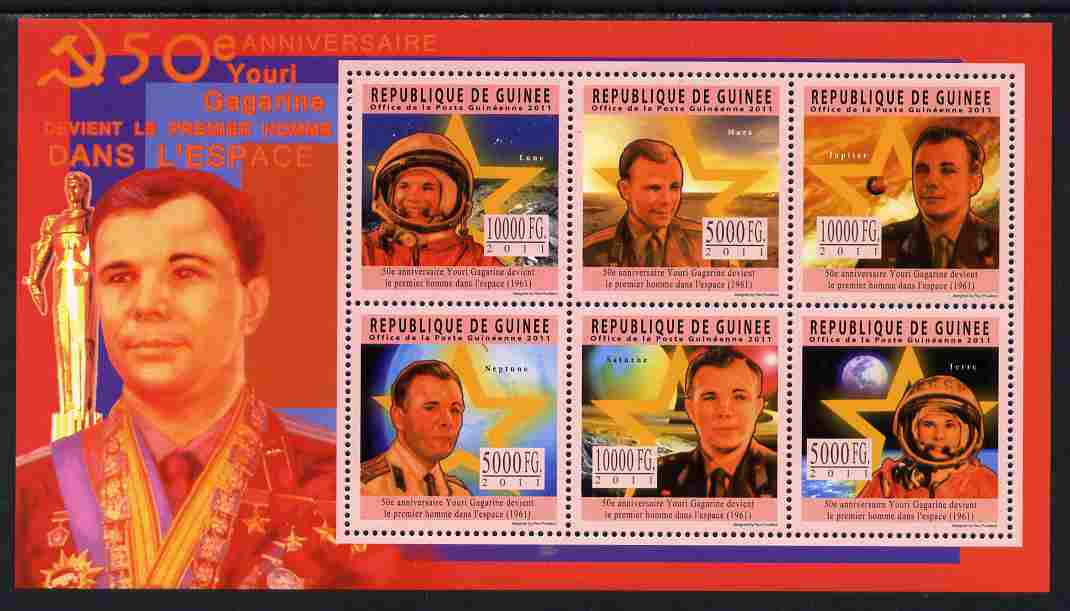 Guinea - Conakry 2011 50th Anniversary of First Man in Space perf sheetlet containing 6 values unmounted mint