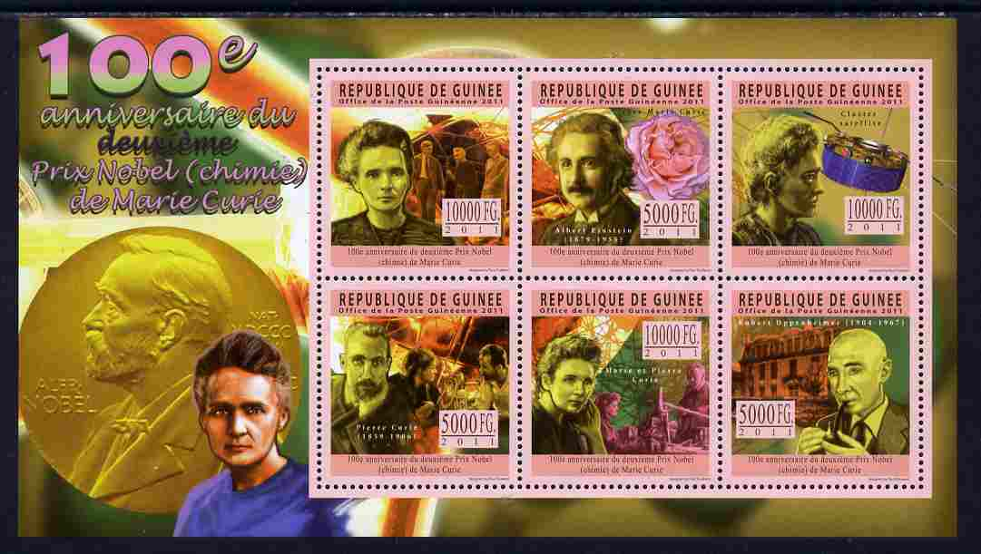 Guinea - Conakry 2011 Centenary of Second Nobel Prize for Marie Curie perf sheetlet containing 6 values unmounted mint