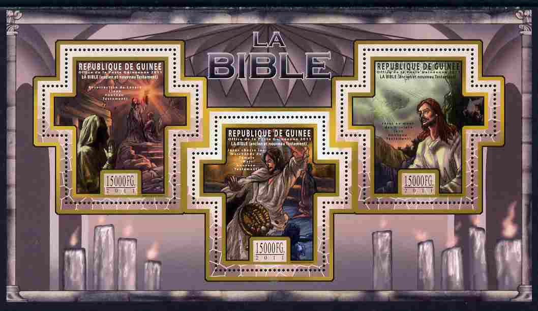 Guinea - Conakry 2011 The Bible #2 perf sheetlet containing 3 Cross shaped values unmounted mint