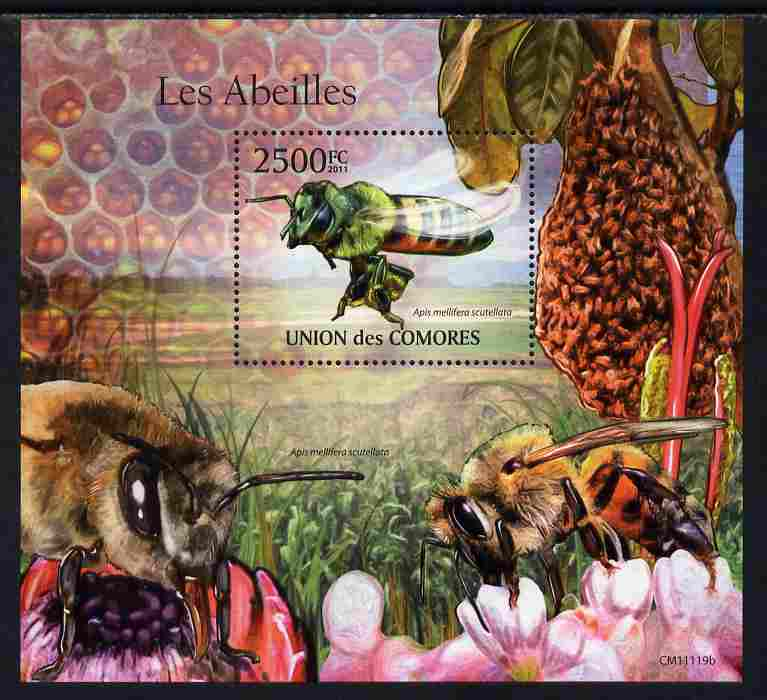 Comoro Islands 2011 Bees perf s/sheet unmounted mint