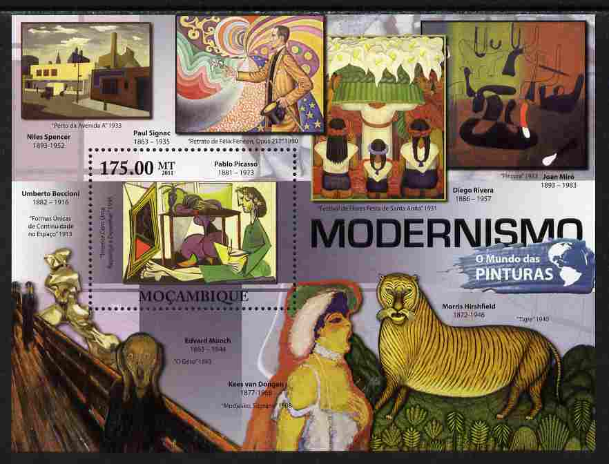 Mozambique 2011 Modernist Paintings perf s/sheet unmounted mint