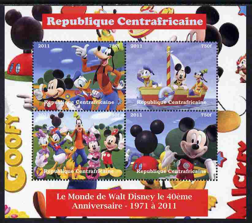 Central African Republic 2011 The World of Walt Disney #2 perf sheetlet containing 4 values unmounted mint. Note this item is privately produced and is offered purely on its thematic appeal
