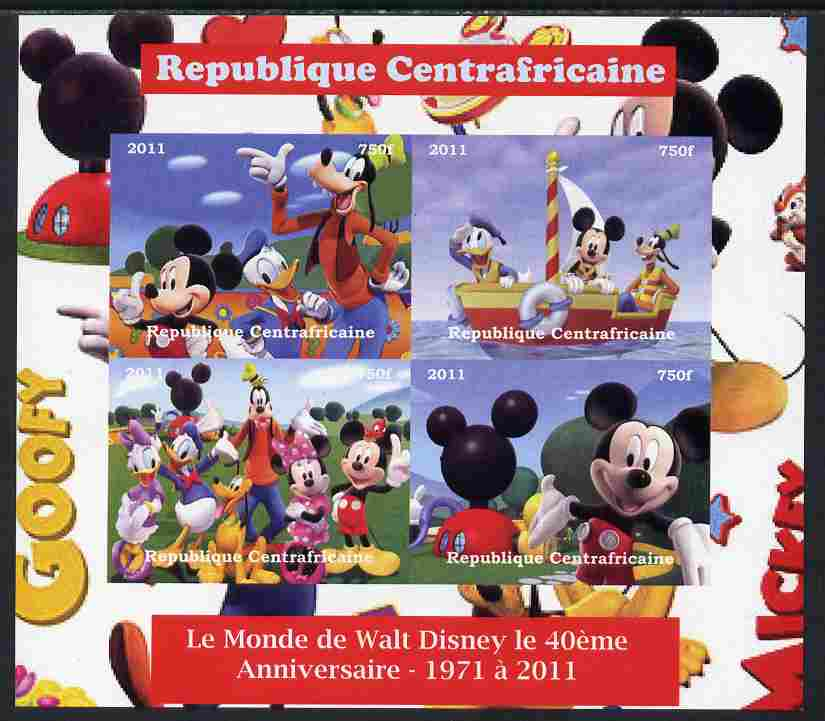 Central African Republic 2011 The World of Walt Disney #2 imperf sheetlet containing 4 values unmounted mint. Note this item is privately produced and is offered purely on its thematic appeal, it has no postal validity
