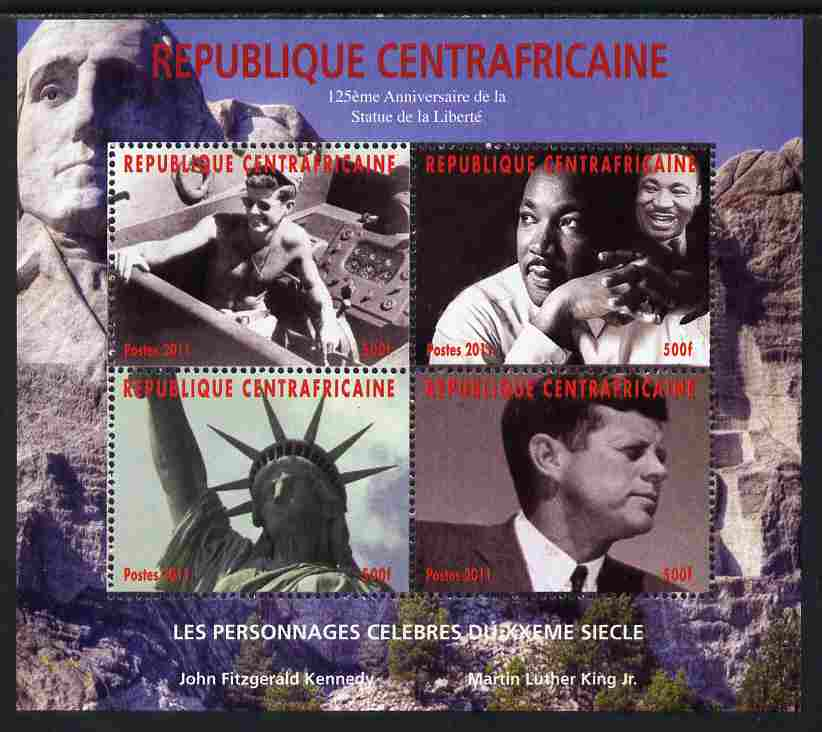 Central African Republic 2011 Celebrities of the 20th Century perf sheetlet containing 4 values unmounted mint. Note this item is privately produced and is offered purely on its thematic appeal, it has no postal validity