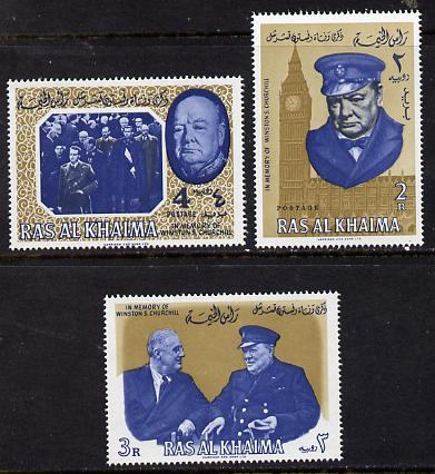 Ras Al Khaima 1965 Churchill perf set of 3 unmounted mint, Mi 15-17A), stamps on churchill, stamps on personalities