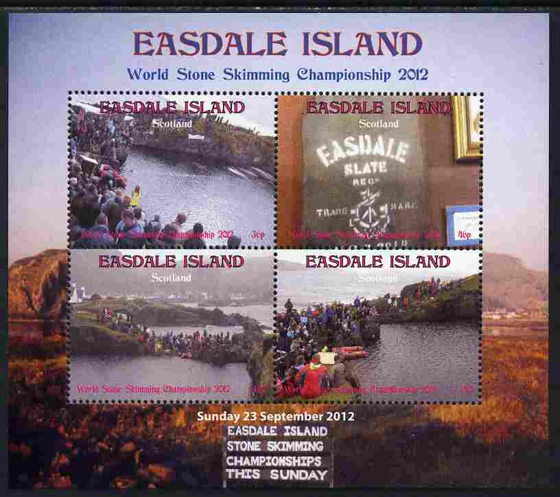 Easdale 2011 World Stone Skimming Championships perf sheetlet containing 4 values unmounted mint