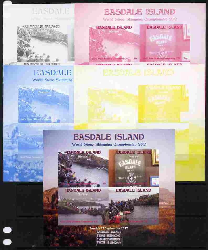 Easdale 2011 World Stone Skimming Championships sheetlet containing 4 values - the set of 5 imperf progressive proofs comprising the 4 individual colours plus all 4-colour composite, unmounted mint
